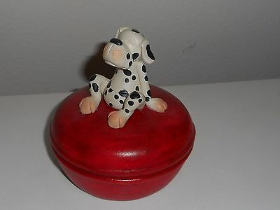 Whimsical Dalmatian On Red Wood Box With Surprise Inside