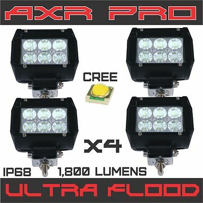 4x 18W Cree Led Work Lights Pods Flood Offroad Lamp For ATV JEEP UTE 4inch Cube