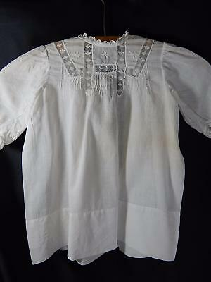 Antique BABY DRESS~Christening GOWN~LACE PANEL NECKLINE~1940s-50s VINTAGE BB301