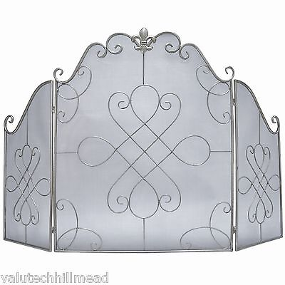 Castleton Home Orbec 3 Panel Fireplace Screen in Silver - 80cm H