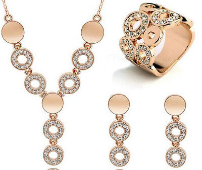 Women Gold Plated Crystal Silver Jewelry Sets Wedding Necklace Drop Earring sets