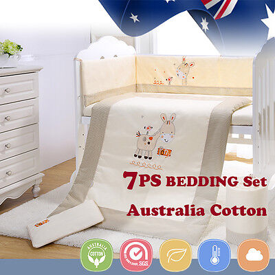 SALES! 7pcs Baby Crib Bedding set Bumpers Quilt Pillow Cot Sheet Newborn Gift
