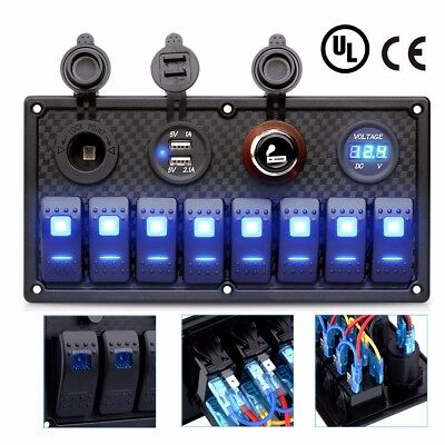 8 Gang Waterproof 12-24V Rocker Switch Panel Control Car Marine Boat Voltmeter