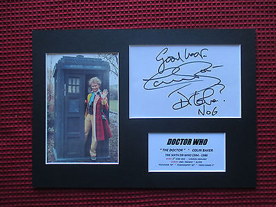 DR WHO #6 COLIN BAKER GENUINE HAND SIGNED A4 MOUNTED CARD w/PHOTO DISPLAY - COA