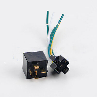 DC 12V Universal Car Auto SPDT Relay Kit Fixed Back 5 Pin Socket 5 Wire 40A