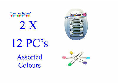 NEW 12 Tommee Tippee Slide-lock Nappy Pins (2 x 6 Pack) Asst'd Colours