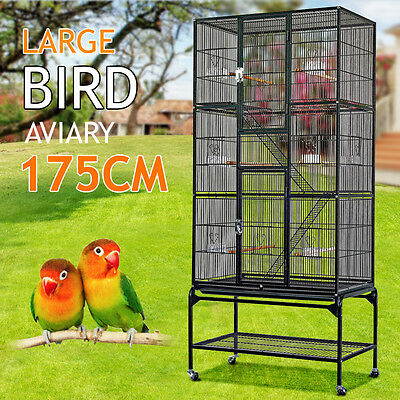 Bird Cage Parrot Aviary Pet Stand-alone Budgie Perch Castor Wheels Large 175cm