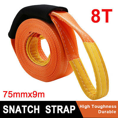 75MM x 9M 8T Snatch Strap Car 4WD Recovery Tow Strap Winch Extension Orange