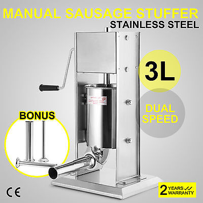 3L Sausage Stuffer Filler Meat Maker Machine Stainless Steel 8LB High Quality