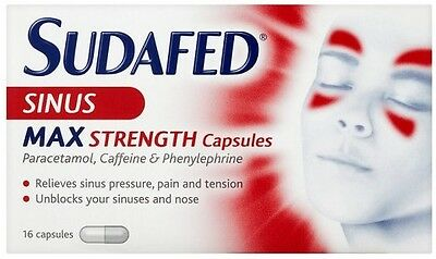Sudafed Sinus Max Strength Capsules (16 Pack) EXP (08/2019)