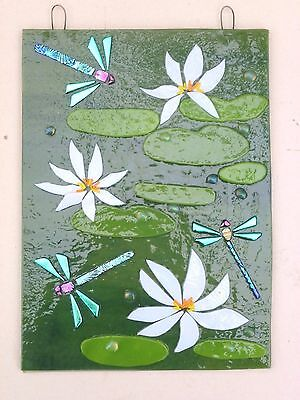 Original Fused Glass Art Waterlillies And Dragonflies