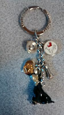 Doberman Dog Little Gifts Hand Painted Key Chain Ring With Charms