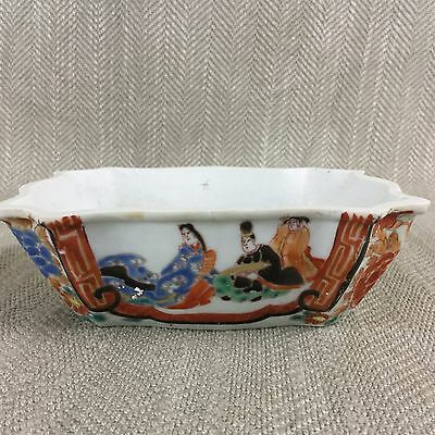 Antique Bonsai Pot 19th C Hand Painted Kutani Signed Japanese Planter Rare Vtg