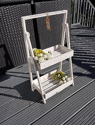 2 Tier White Ladder Shelf Unit Display Stand Flower/plant Rack Home Garden Shop