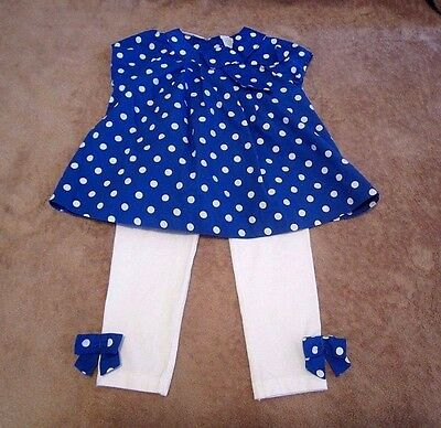 Baby Girls First Impressions Blue Polka Dot w/Pants Two-Piece Outfit Size 24M