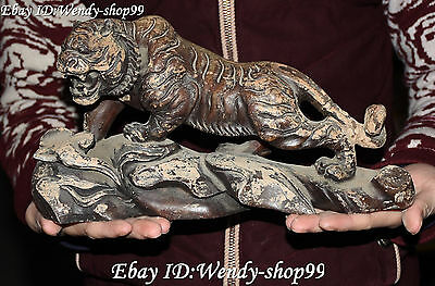 "11"" Collect Chinese Old Jade Hand Carving Zodiac Year Animal Tiger Tigers Statue"