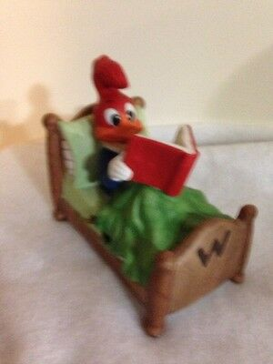Vintage Walter Lantz Woody Woodpecker Reading A Book Ceramic Music Box. Rare.
