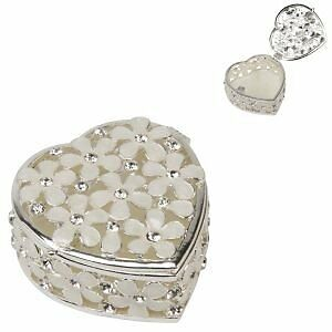 Sophia Heart Shape Trinket Box With Cream Flowers & Crystals