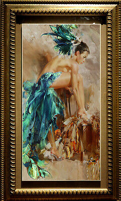 "Original art Oil Painting Impressionism nude girl on canvas 24""x40"""