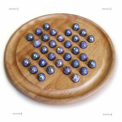 'Purple Haze' Solitaire, Natural Board, Glass Marbles