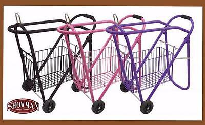 PINK Saddle Rack Rolling Stand Wheels basket Stack Store Roll Away ShowmAN!