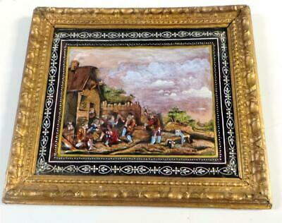 Amazing Antique Enamel on Copper Painting German Pub Scene ca. 19th Century