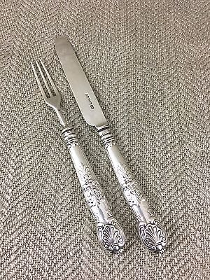 Antique Silver Cutlery Knife Fork Childrens Baby Christening Set Aaron Hadfield