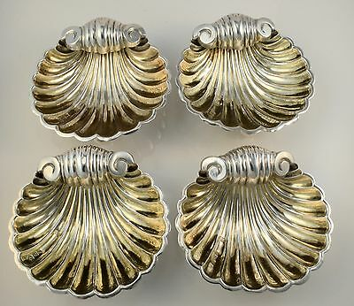 Antique Set Of Four Silver Salts In Shell Form On Bun Feet Hm Chester 1894