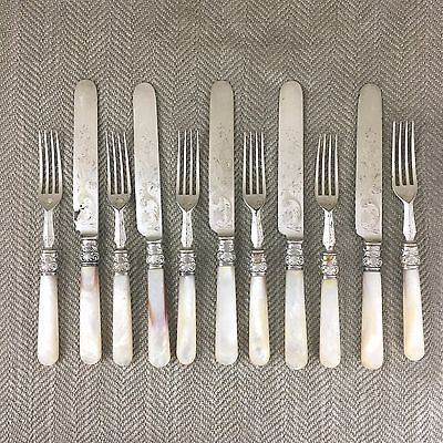 Antique Fruit Desert Cutlery Set x 5 Mother of Pearl Silver Plate Plated Forks