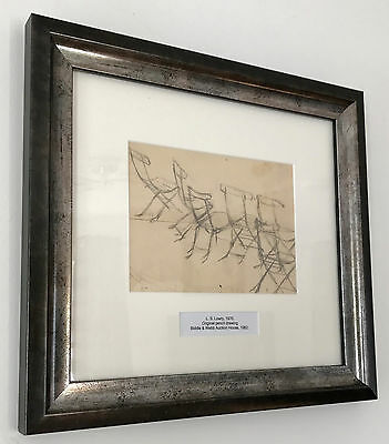 LS Lowry Original Framed Graphite Line Drawing Hand Signed Chairs