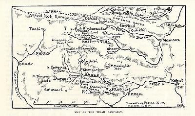 Antique Map, India, Map Of The Tirah Campaign 1897