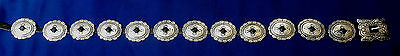 NATIVE AMERICAN STERLING  STAMPED DOMED 13  PIECES Ladys ESTATE CONCHO BELT