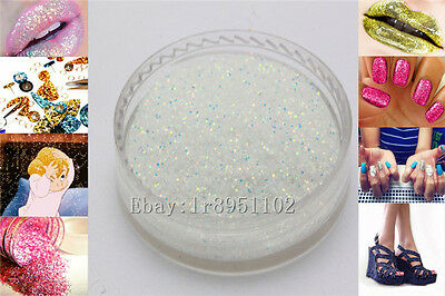 white 4AB 10g Nail Art GLITTER Sequins crafts DIY makeup Powder Crystals 1 Pack
