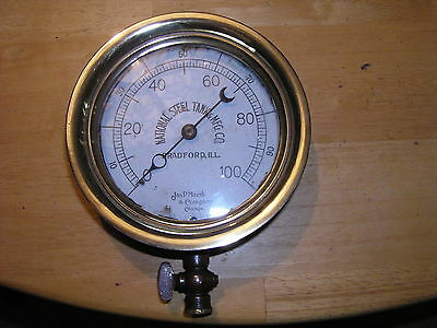 "Old Jas. P. Marsh & Company Gauge-6"" Brass-Chicago-Industrial/Steampunk"
