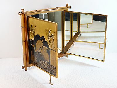 Stunning Antique French 1876 Patent Trifold Mirror Inscribed Oriental Design