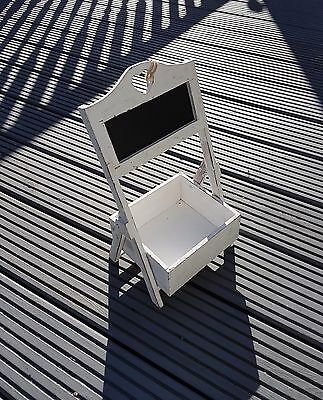 Single Tier Plant Stand Display Stand Blackboard Rustic White Washed Storage