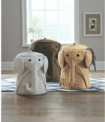 "Elephant Wicker Laundry Hamper Animal 20"" H 16"" W 17"" D Grey Hand Woven Kids"