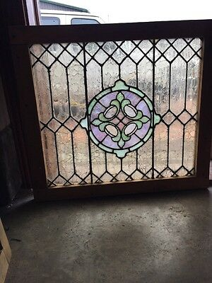 Sg 1347 Antique Stainglass Landing Window Celtic Design 30 X 33.25