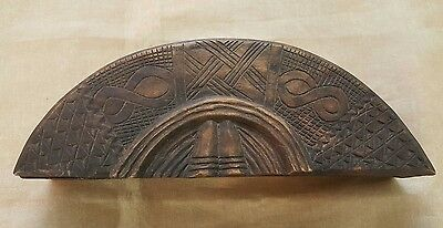Kuba Box Lidded Crescent African Art Wooden Hand Made Crafted Carved