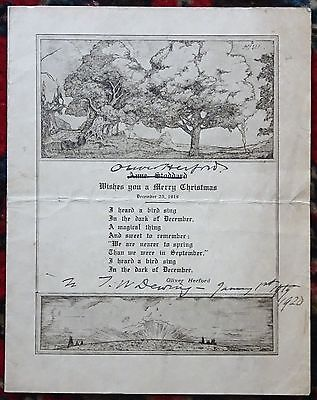 OLIVER HERFORD AUTOGRAPHED / SIGNED Printed Poem American Author Artist 1920
