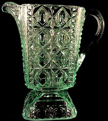 Valencia Waffle Table Creamer Apple Green Pattern Glass 1885 Adams Pitcher EAPG