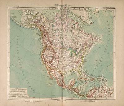 Stielers Hand-Atlas Map 1907 Justus Perthes Gotha North America