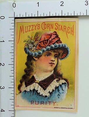 """1880's Victorian Trade Card Muzzy's Corn Starch """"Purity"""" Lovely Girl F65"""