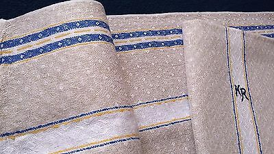 2x old linen kitchen Towels Runners with nature coloured blue and yellow stripes