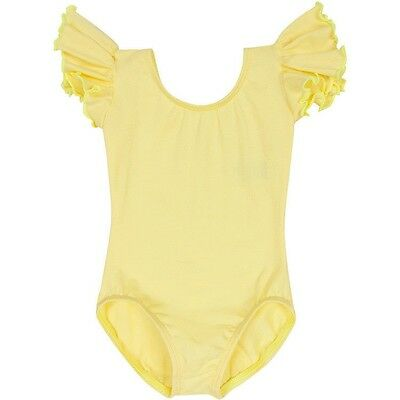 YELLOW Leotard for Toddler & Girls - Ruffle / Flutter Short Sleeve