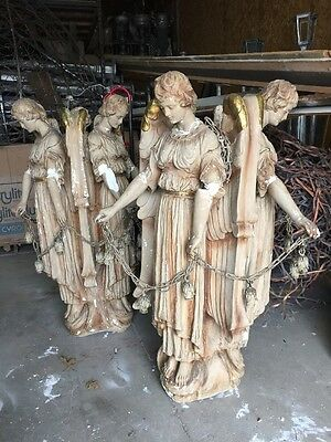 Two Available Sold Separate Antique Triple Angel Plaster Chandeliers 52 X 40