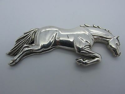 RARE Vintage Signed CAROL FELLEY Jumping Horse Sterling Silver Western Pin 29.6g