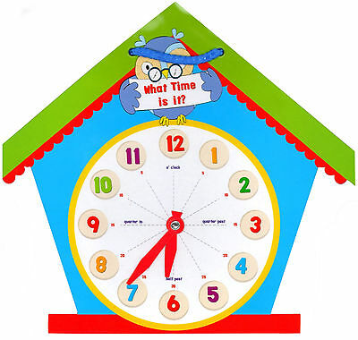 Childrens Learn to Tell the Time Shaped Clock Educational Learning Tool Toy ECLO