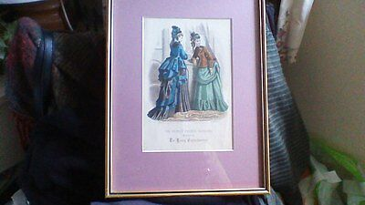 Vintage French Framed 19th Century Fashion Print