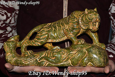 18CM Chinese Old Jade Carving Fengshui 12 Zodiac Year Animal Tiger Tigers Statue